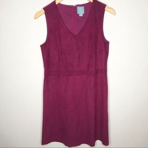 CeCe faux suede magenta dress